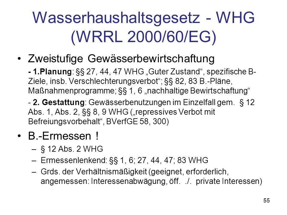 Wasserhaushaltsgesetz - WHG (WRRL 2000/60/EG)