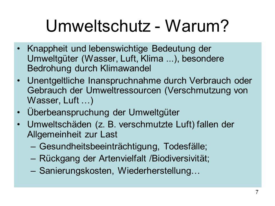 Umweltschutz - Warum Knappheit und lebenswichtige Bedeutung der Umweltgüter (Wasser, Luft, Klima ...), besondere Bedrohung durch Klimawandel.