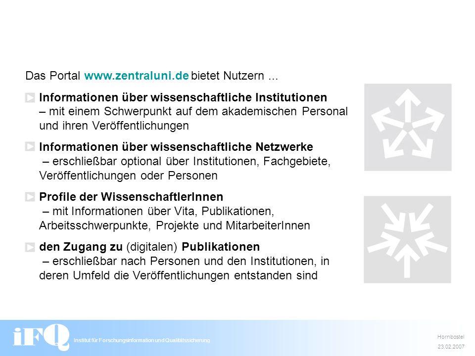 Das Portal www.zentraluni.de bietet Nutzern ...