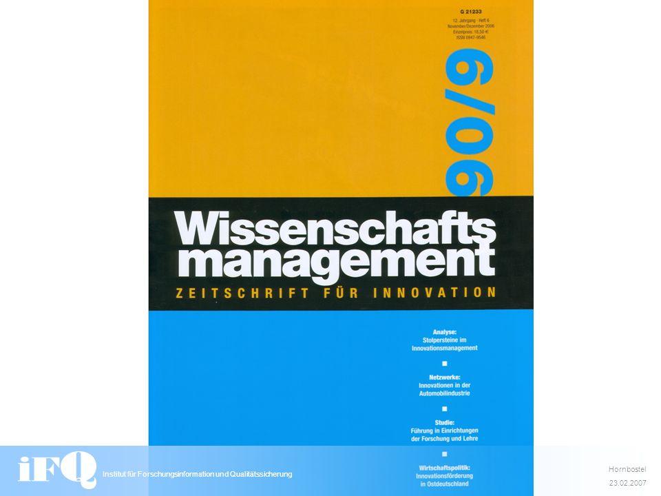 Hornbostel 23.02.2007 Institut für Forschungsinformation und Qualitätssicherung