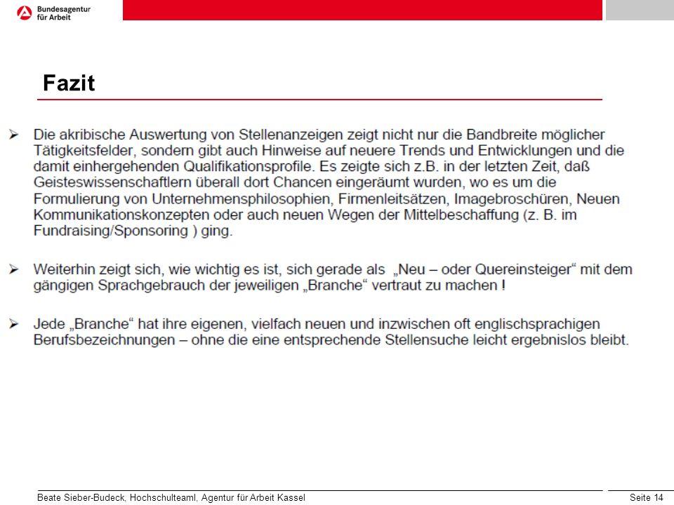 Fazit Beate Sieber-Budeck, Hochschulteaml, Agentur für Arbeit Kassel