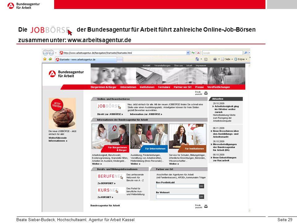 Die der Bundesagentur für Arbeit führt zahlreiche Online-Job-Börsen
