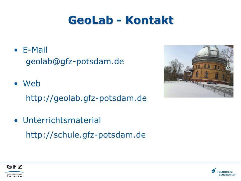 GeoLab - Kontakt E-Mail geolab@gfz-potsdam.de Web