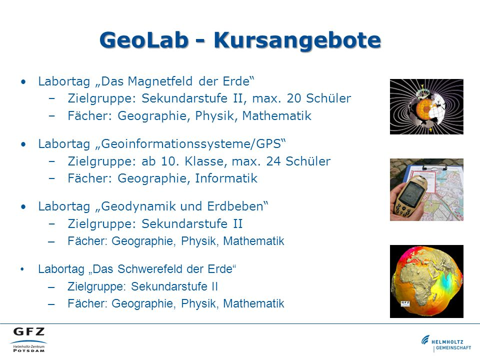 """GeoLab - Kursangebote Labortag """"Das Magnetfeld der Erde"""