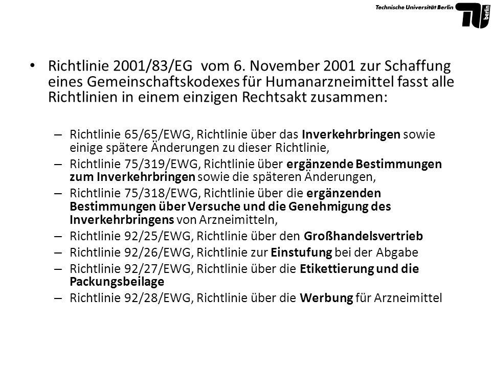 Richtlinie 2001/83/EG vom 6. November 2001 zur Schaffung eines Gemeinschaftskodexes für Humanarzneimittel fasst alle Richtlinien in einem einzigen Rechtsakt zusammen: