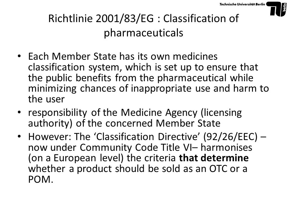 Richtlinie 2001/83/EG : Classification of pharmaceuticals