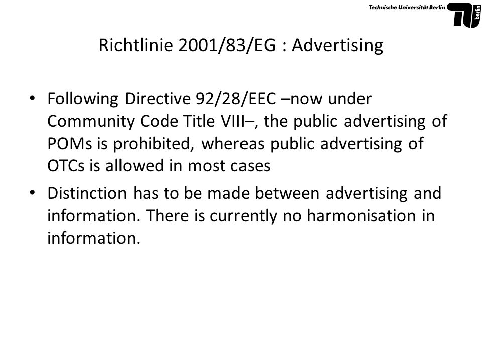 Richtlinie 2001/83/EG : Advertising