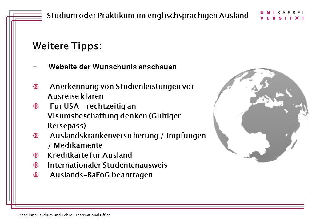 Weitere Tipps: Website der Wunschunis anschauen