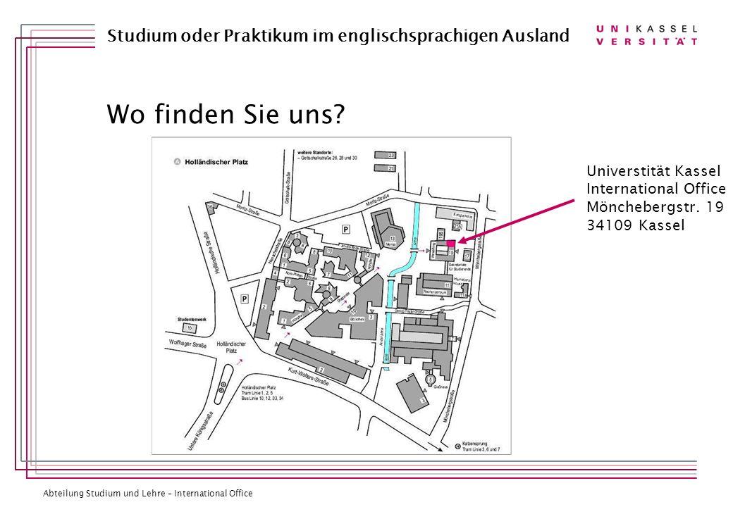 Wo finden Sie uns Universtität Kassel International Office