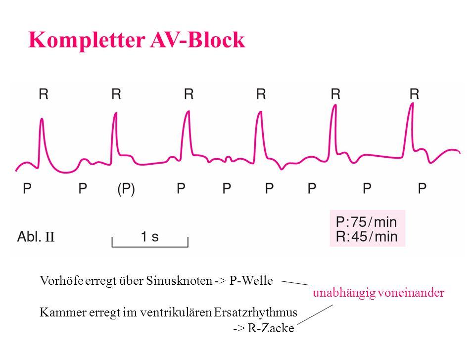 Kompletter AV-Block Vorhöfe erregt über Sinusknoten -> P-Welle