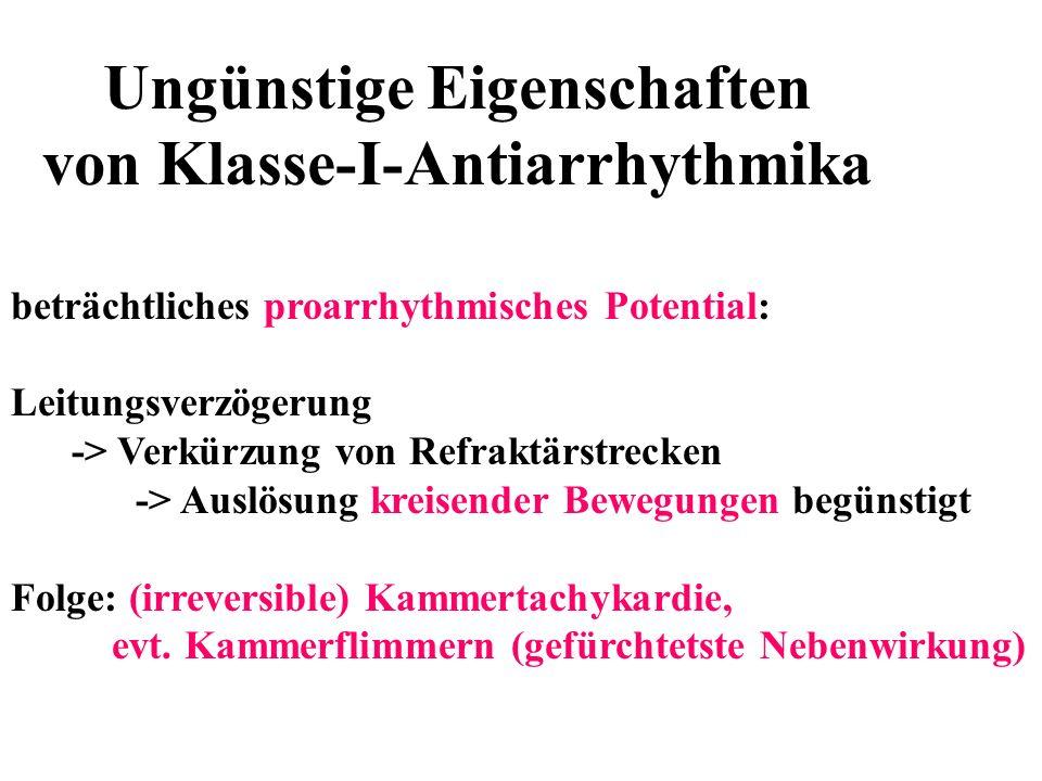 Ungünstige Eigenschaften von Klasse-I-Antiarrhythmika