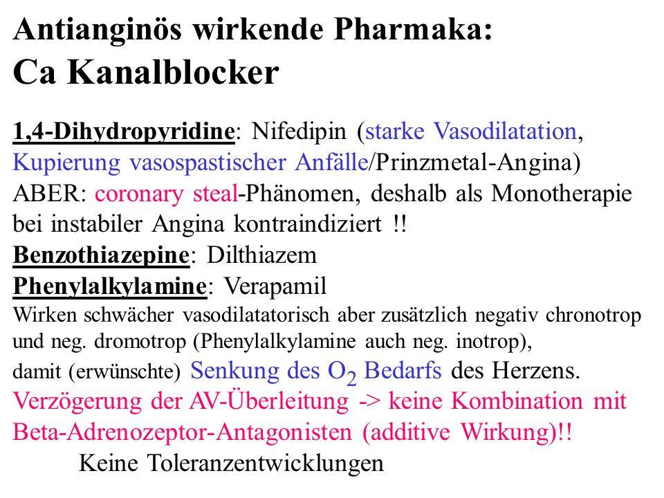 Ca Kanalblocker Antianginös wirkende Pharmaka:
