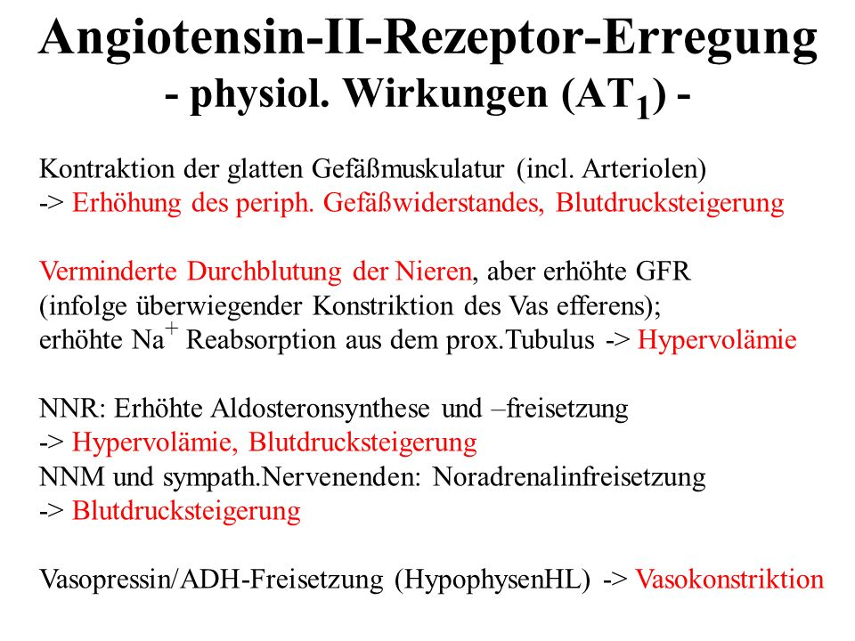Angiotensin-II-Rezeptor-Erregung - physiol. Wirkungen (AT1) -