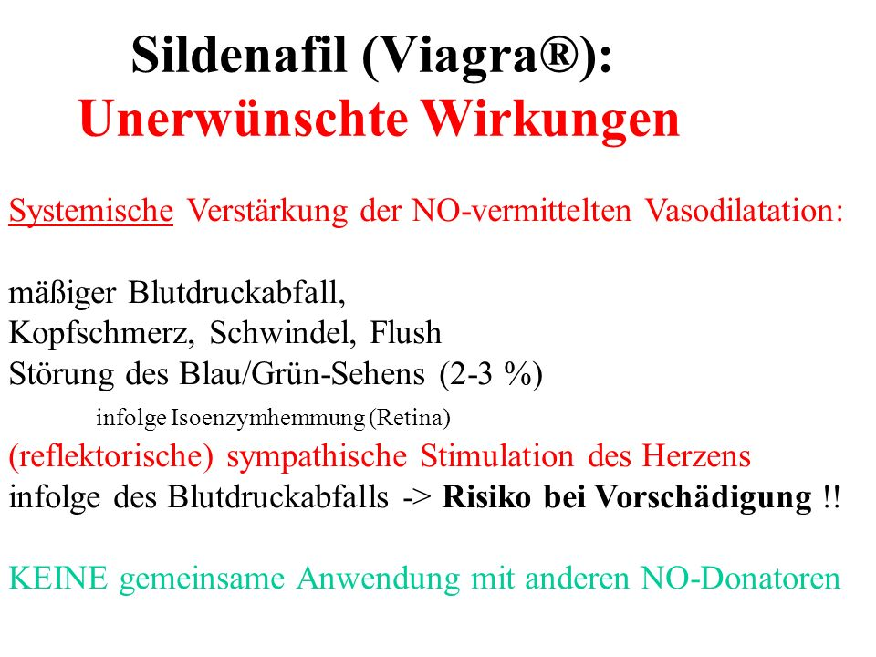 Sildenafil (Viagra®): Unerwünschte Wirkungen