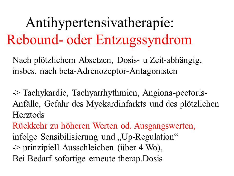 Antihypertensivatherapie: Rebound- oder Entzugssyndrom