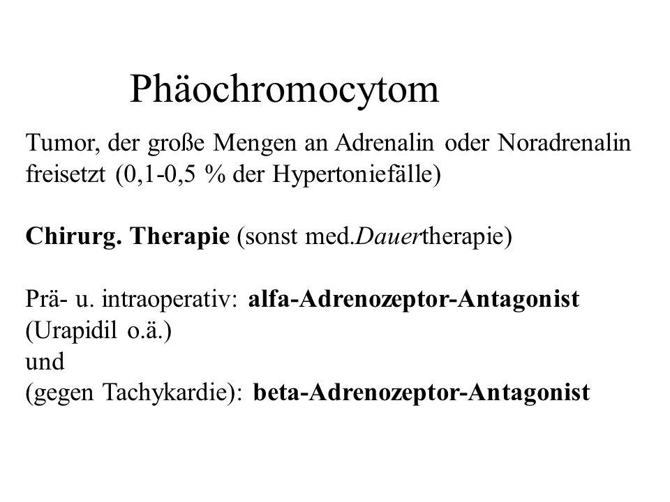 Phäochromocytom Tumor, der große Mengen an Adrenalin oder Noradrenalin