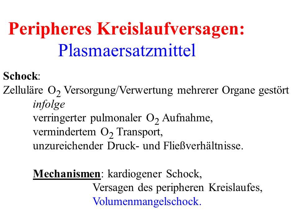 Peripheres Kreislaufversagen: Plasmaersatzmittel