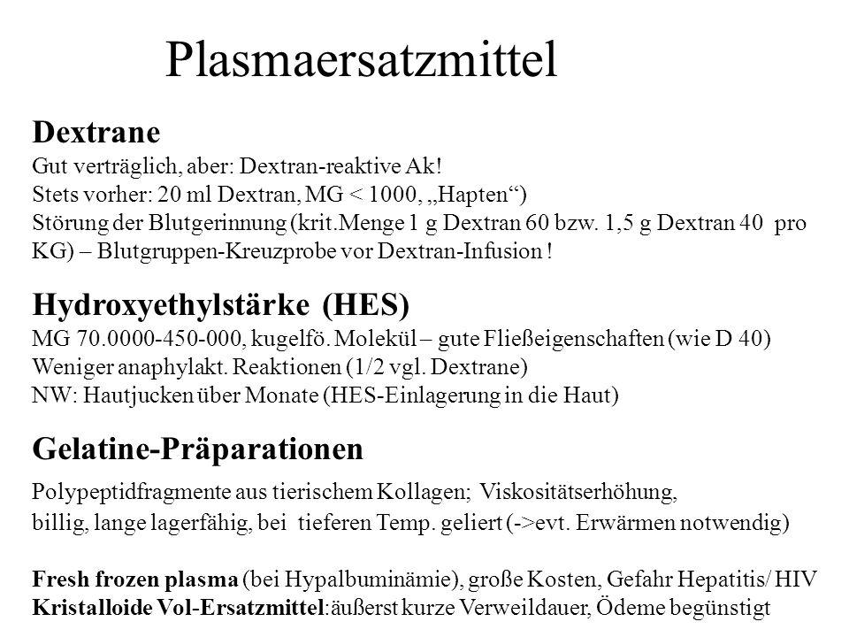 Plasmaersatzmittel Dextrane Hydroxyethylstärke (HES)