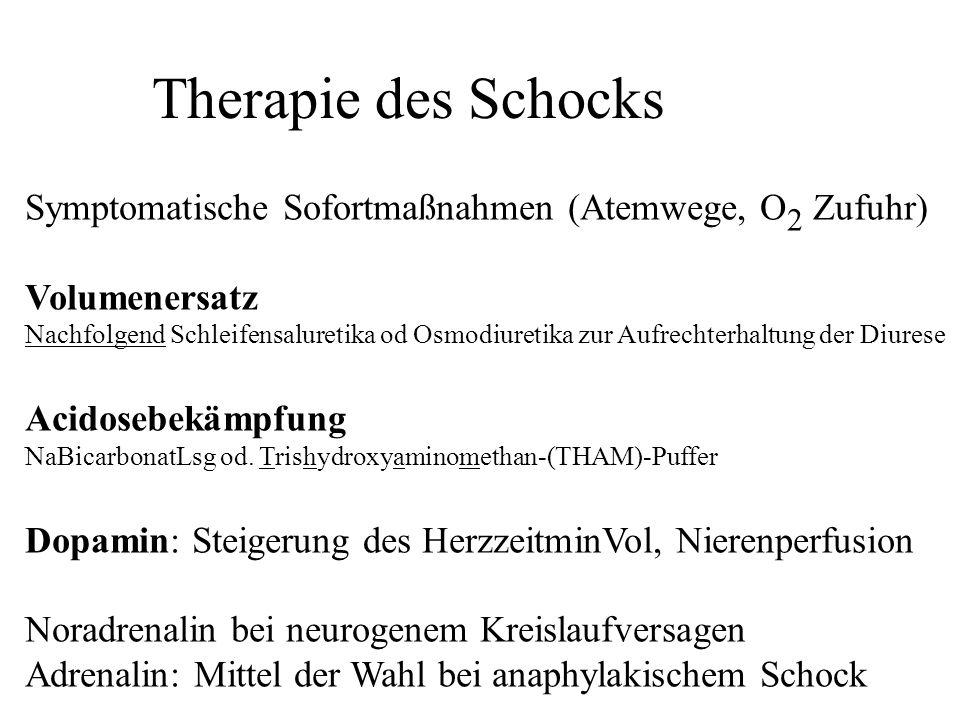 Therapie des Schocks Symptomatische Sofortmaßnahmen (Atemwege, O2 Zufuhr) Volumenersatz.