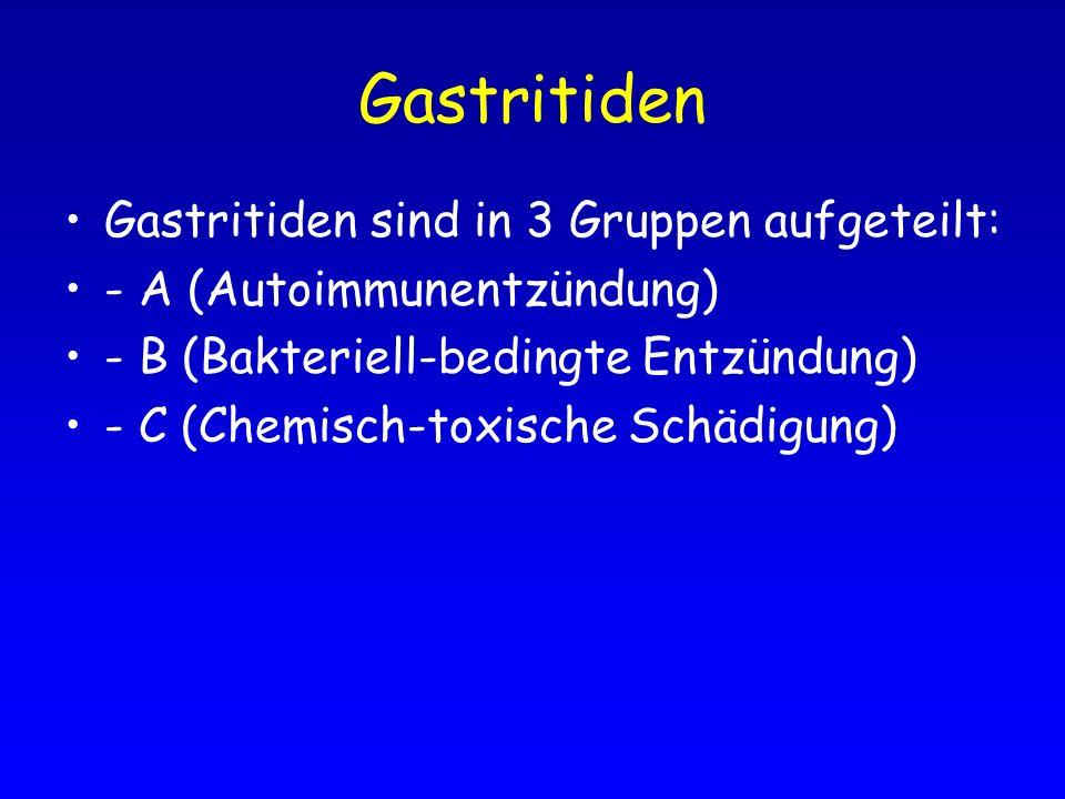 Gastritiden Gastritiden sind in 3 Gruppen aufgeteilt: