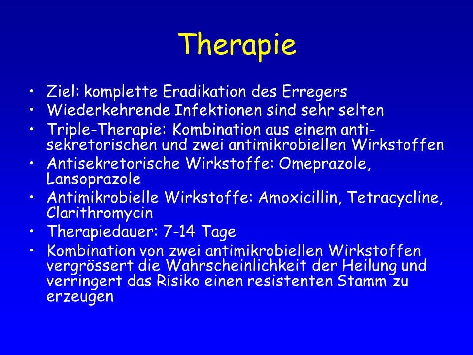 Therapie Ziel: komplette Eradikation des Erregers