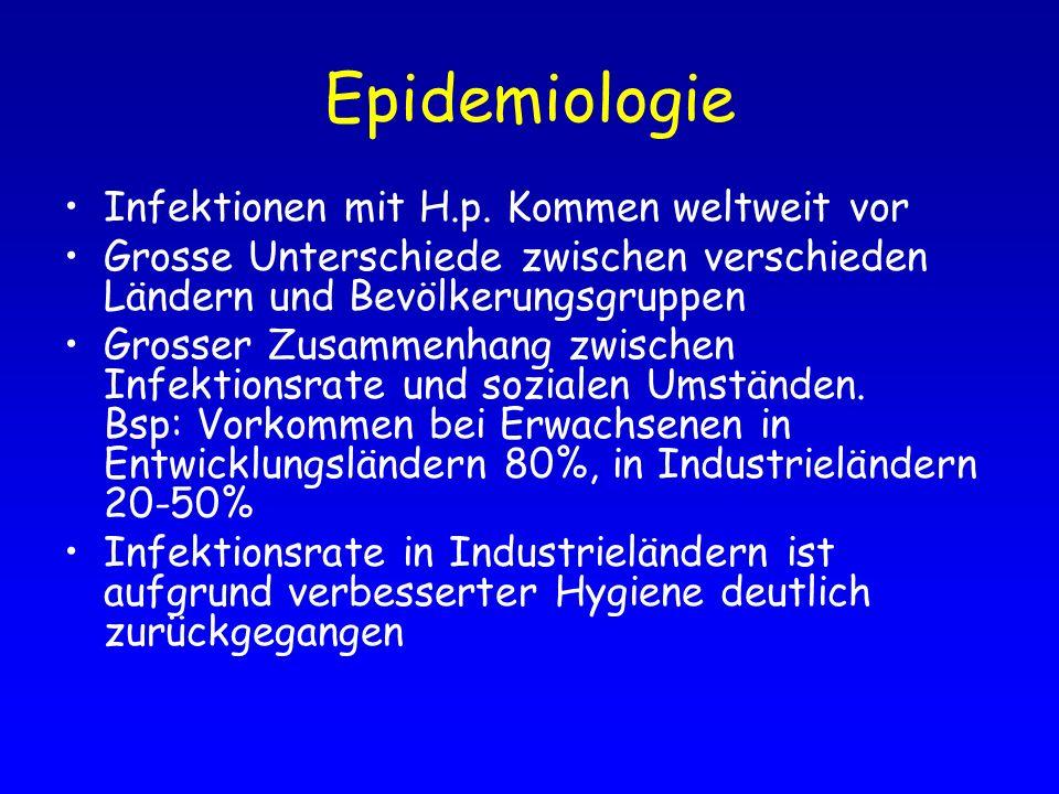 Epidemiologie Infektionen mit H.p. Kommen weltweit vor