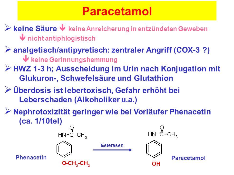 Paracetamol keine Säure  keine Anreicherung in entzündeten Geweben  nicht antiphlogistisch.