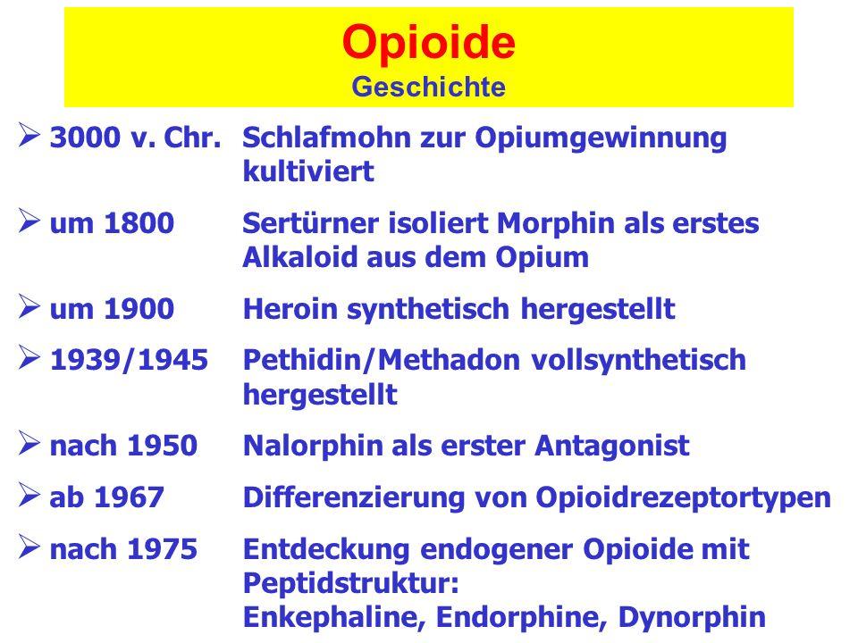 OpioideGeschichte. 3000 v. Chr. Schlafmohn zur Opiumgewinnung kultiviert. um 1800 Sertürner isoliert Morphin als erstes Alkaloid aus dem Opium.