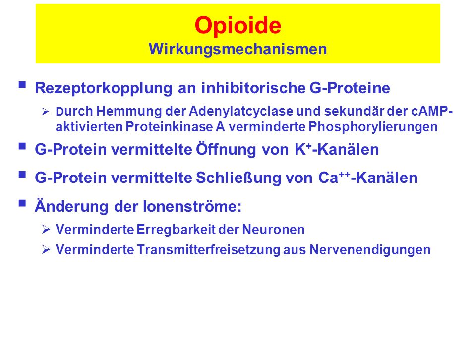Opioide Wirkungsmechanismen