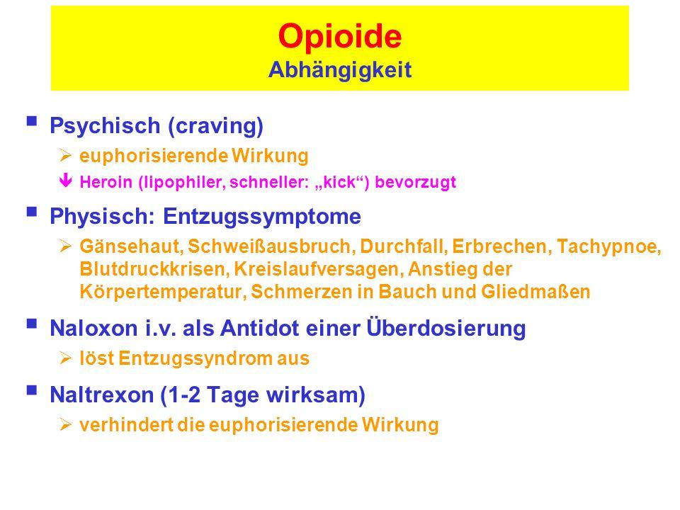 Opioide Abhängigkeit Psychisch (craving) Physisch: Entzugssymptome