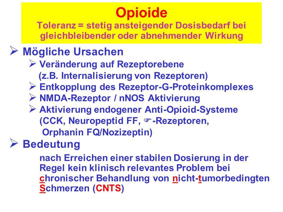 Opioide Toleranz = stetig ansteigender Dosisbedarf bei gleichbleibender oder abnehmender Wirkung