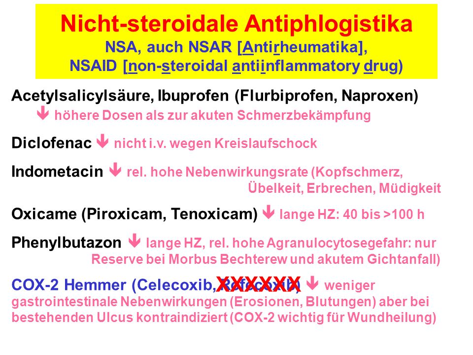 nicht steroidale antiphlogistica