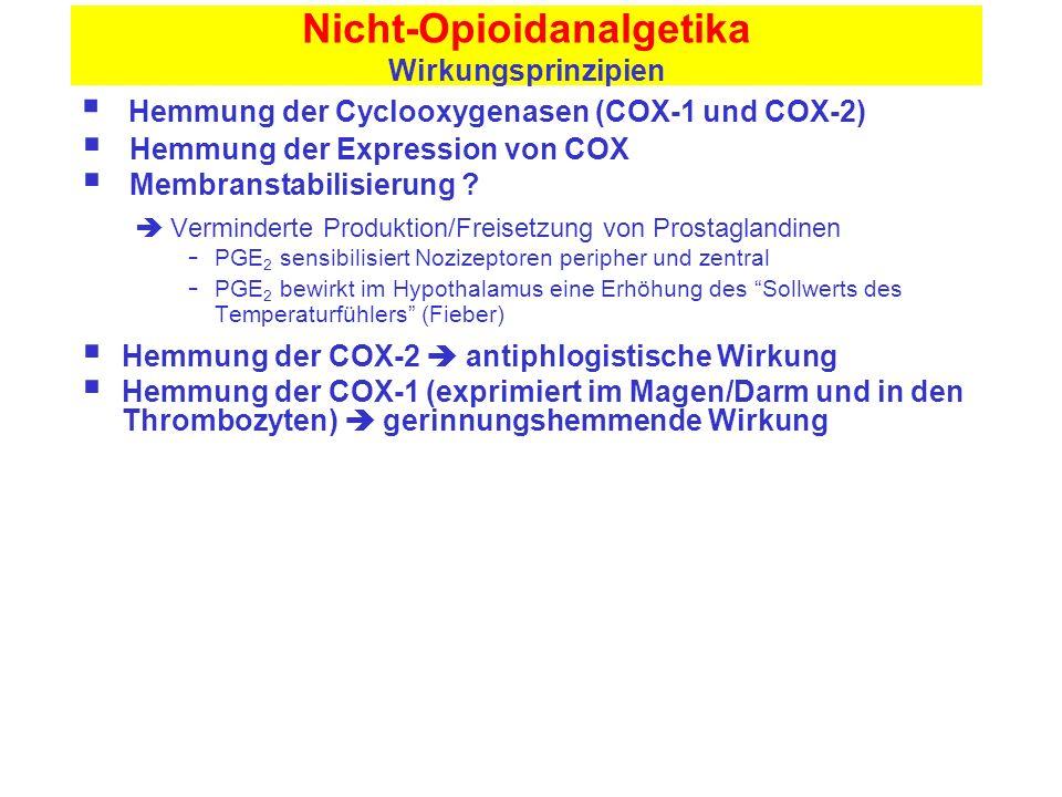 Nicht-Opioidanalgetika Wirkungsprinzipien