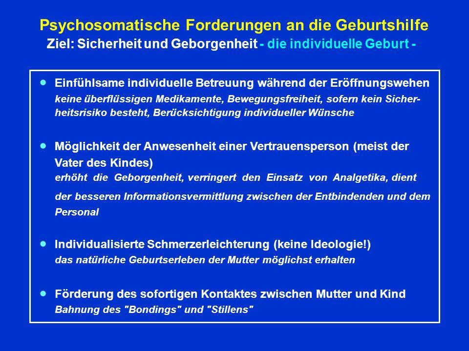 Psychosomatische Forderungen an die Geburtshilfe