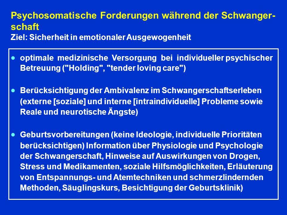 Psychosomatische Forderungen während der Schwanger-schaft