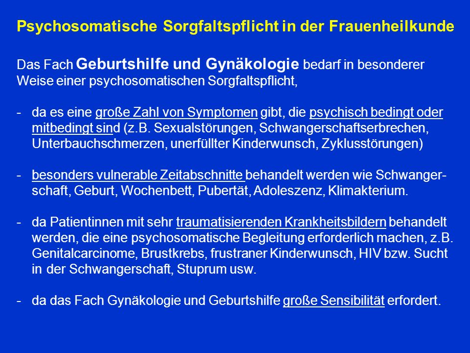 Psychosomatische Sorgfaltspflicht in der Frauenheilkunde