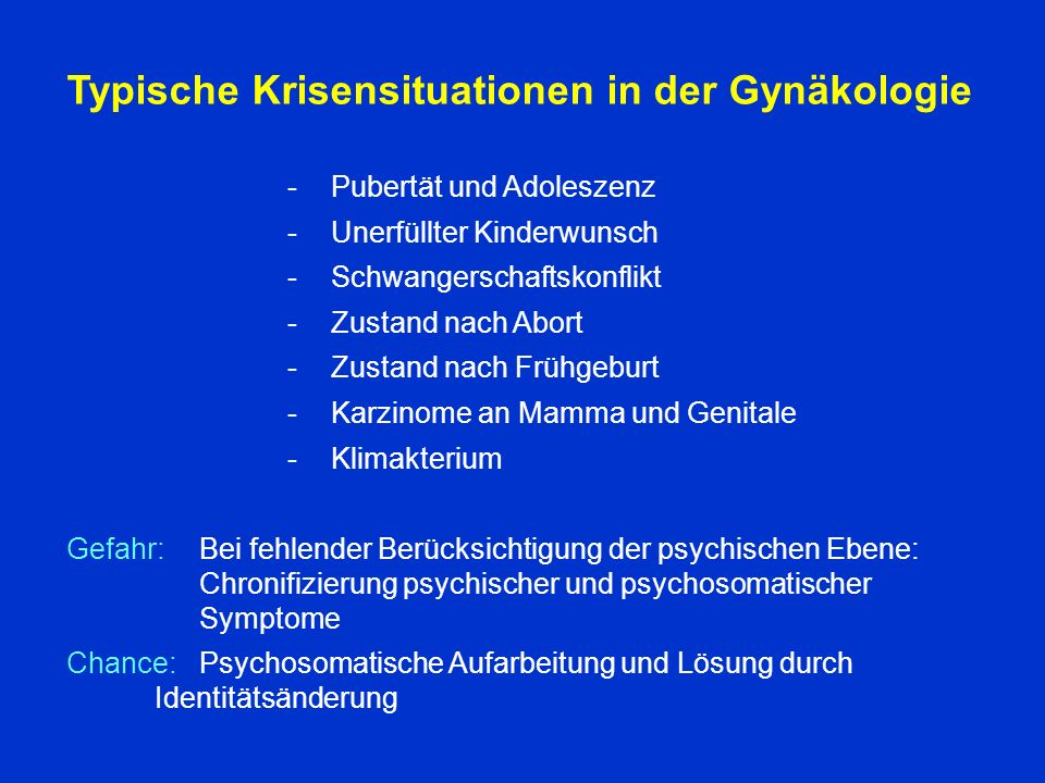 Typische Krisensituationen in der Gynäkologie