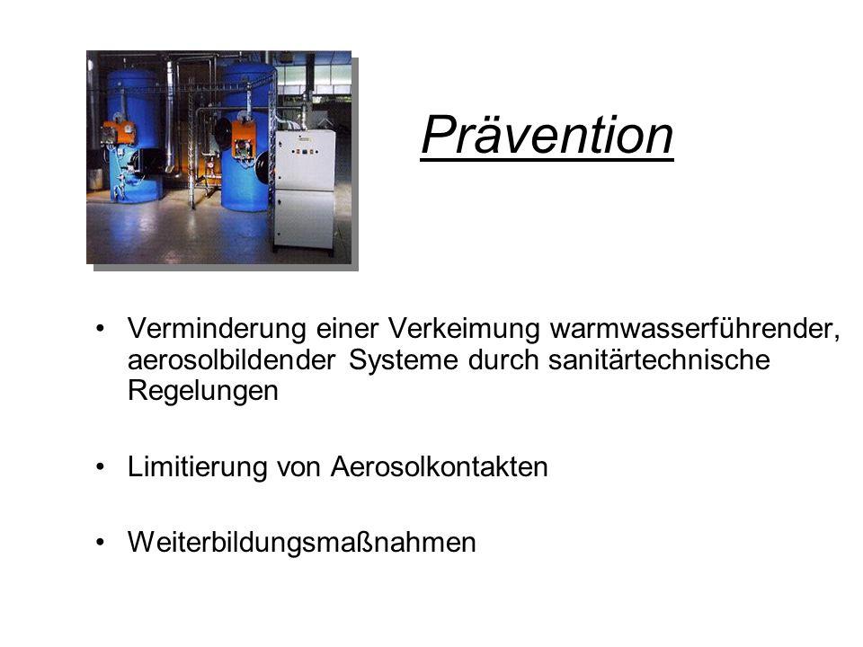 Prävention Verminderung einer Verkeimung warmwasserführender, aerosolbildender Systeme durch sanitärtechnische Regelungen.