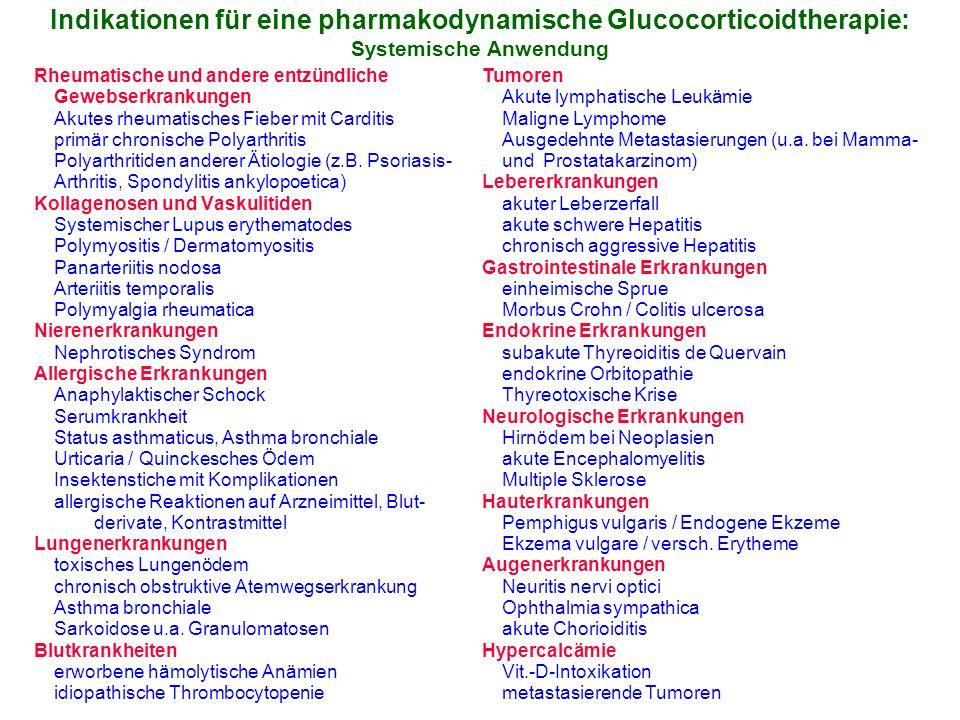 Indikationen für eine pharmakodynamische Glucocorticoidtherapie: Systemische Anwendung