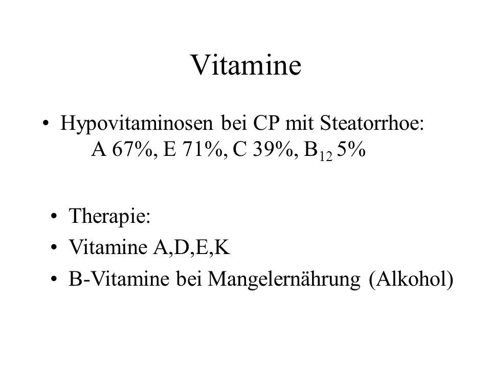 Vitamine Hypovitaminosen bei CP mit Steatorrhoe: A 67%, E 71%, C 39%, B12 5% Therapie: Vitamine A,D,E,K.