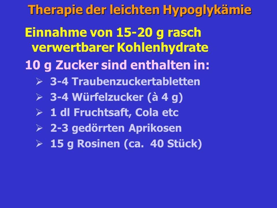 Therapie der leichten Hypoglykämie