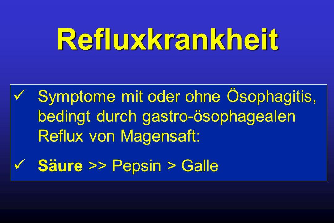 Refluxkrankheit  Symptome mit oder ohne Ösophagitis, bedingt durch gastro-ösophagealen Reflux von Magensaft: