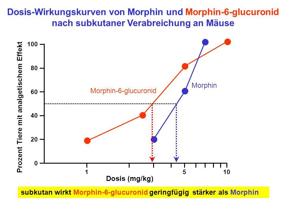 Dosis-Wirkungskurven von Morphin und Morphin-6-glucuronid nach subkutaner Verabreichung an Mäuse
