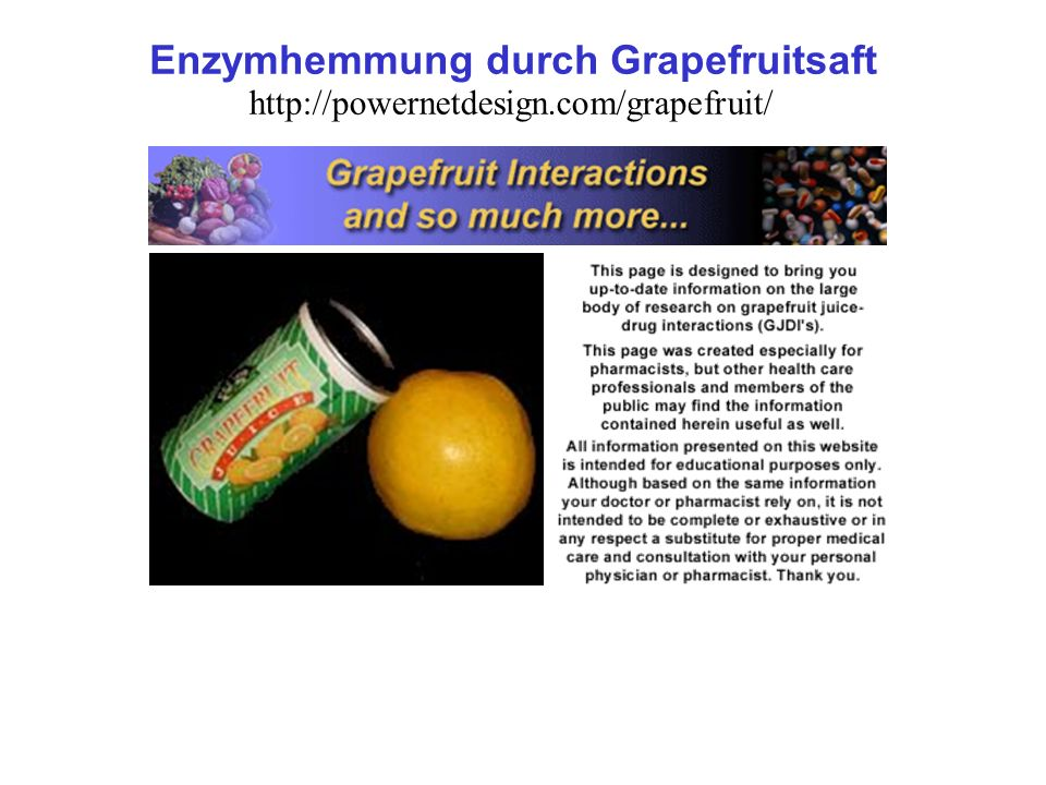 Enzymhemmung durch Grapefruitsaft