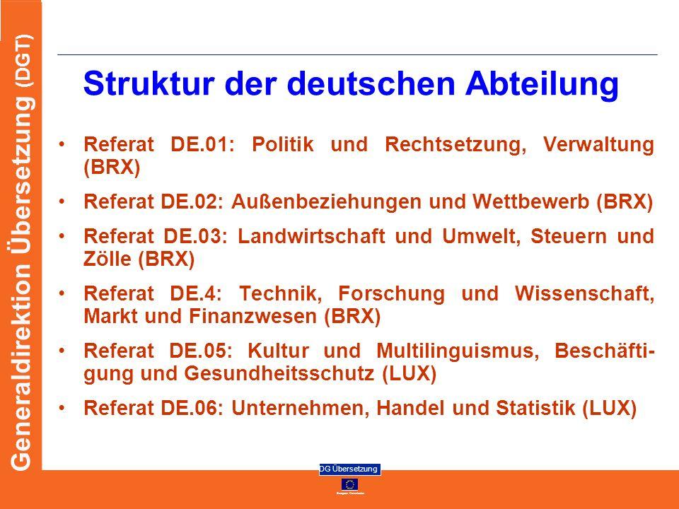 Struktur der deutschen Abteilung