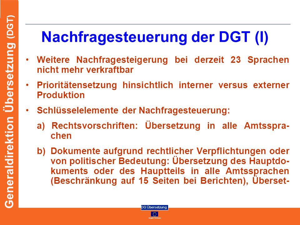 Nachfragesteuerung der DGT (I)