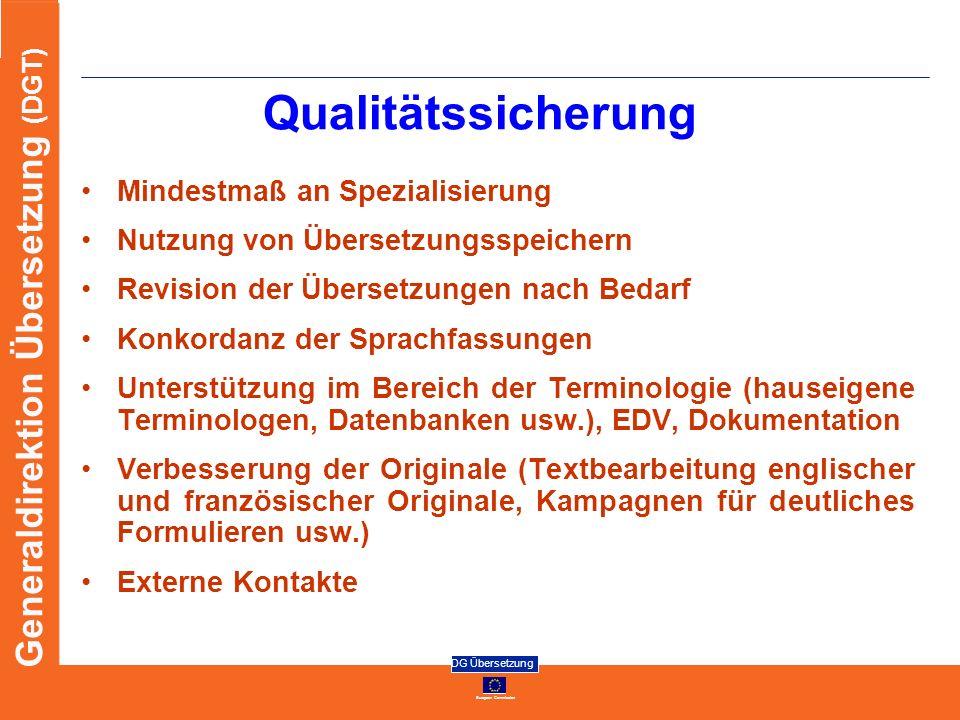 Qualitätssicherung Mindestmaß an Spezialisierung