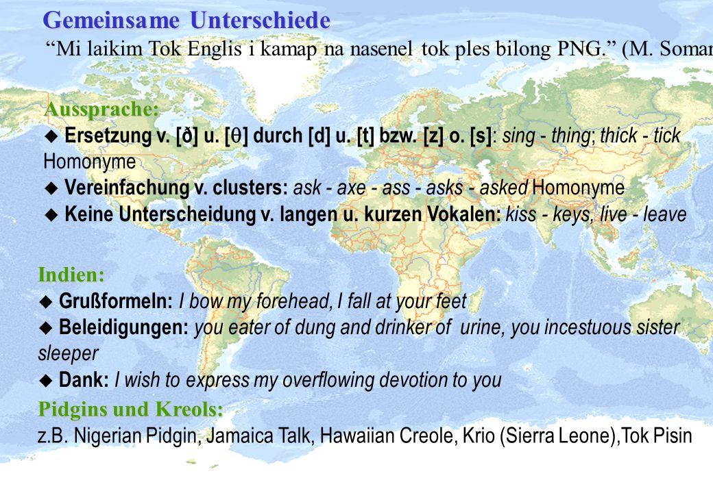 Gemeinsame Unterschiede Mi laikim Tok Englis i kamap na nasenel tok ples bilong PNG. (M. Somare)