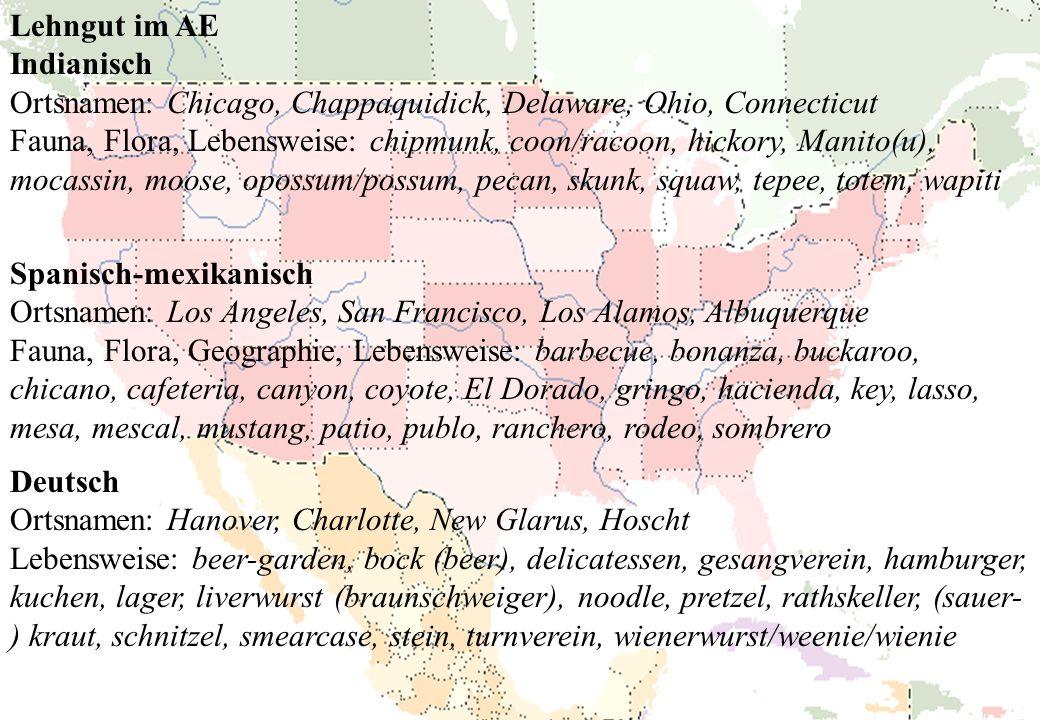 Lehngut im AE Indianisch. Ortsnamen: Chicago, Chappaquidick, Delaware, Ohio, Connecticut.