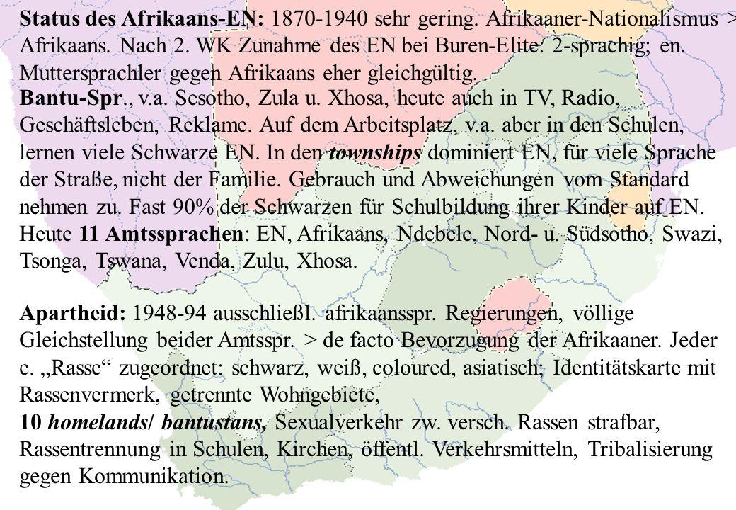 Status des Afrikaans-EN: 1870-1940 sehr gering